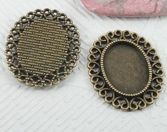 10pcs antiqued bronze color rim oval cabochon setting EF0678