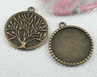 8pcsantiqued bronze round cabochon settings with tree back EF0716
