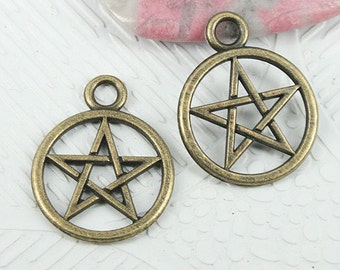 26pcs antiqued bronze color round shaped hollow star charms EF0841