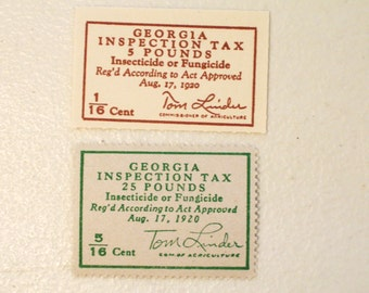 1950's Georgia Inspection Tax Stamps, Inspecticide or Fungicide 1/16 & 5/16 Cent, Tom Linder, MNH, mint