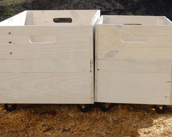 White Washed Set of Rolling Wood Crates/ Reclaimed Wood/ Storage Bins