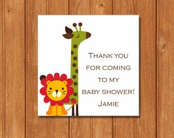 Retro Jungle Animals GIft Tags BSI200GT Square Favor Tags, Editable and Printable-PDF Files, Instant Download