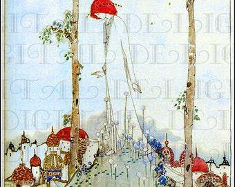City At Her Feet. Jessie M. King. Art Nouveau.  VINTAGE Illustration.  Digital DOWNLOAD. Vintage Art Nouveau Print.