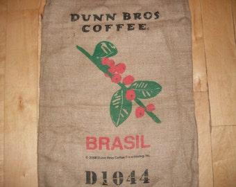 Gunny Sack Dunn Bros burlap coffee sack from Brazil- Modern Art, Crafting, Weddings, use your imagination.