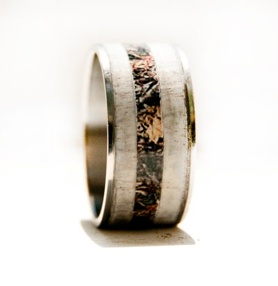 Mens Wedding Band Elk Antler Amp Camo Ring By StagHeadDesigns