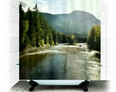 Fabric Shower Curtain  - Listen - Photography, bathroom, home, decor, mountains, river, landscape, wilderness, rustic, woodlands, forest
