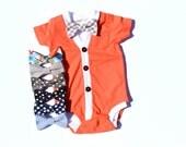 Baby Cardigan and Bow Tie Set - Trendy Baby Boy - Solid Coral - Cardigan Onesie