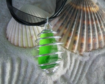 Sea Glass Pendant - Beach Glass Necklace - Lime Green Sea Glass - Cage - OOAK
