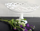 Large Milk Glass Pedestal Fruit Bowl