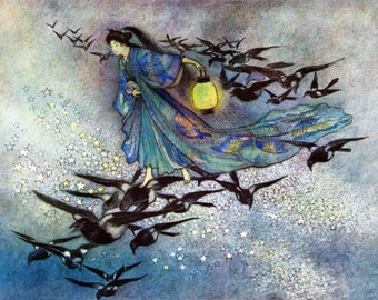 Goddess Fabric Block - Magpies Fly - Star Lovers - Warwick Goble