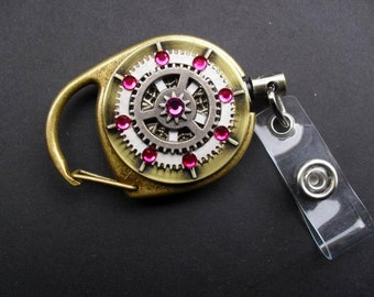 Steampunk ID Pull Badge Pull, Badge Reels, Design your own Made to order