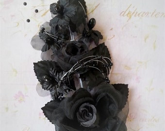 Black Silk Flower Pearl Spray