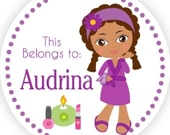 Personalized Name Label Stickers - Purple Polka Dot Cute Spa Girl Name Tag Stickers - 2 inch Round Sticker Tags - Back to School Name Labels