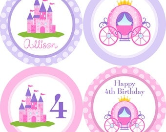 Princess Party Circles - Pink and Purple Polka Dots, Princess Castle n Carriage Personalized Birthday Party Circles - Digital Printable File
