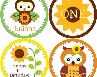 Fall Owl Party Circles - Orange, Green, Yellow and Brown, Autumn Sunflower Owl Personalized Birthday Party Circles - Digital Printable File
