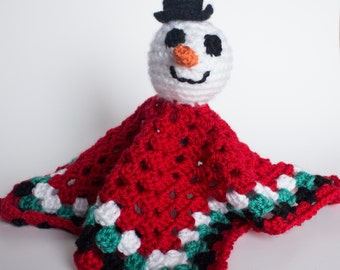 Crocheted Snowman Blanket - Red Green Security Blanket Lovey, Cute Winter Snowman Toy - Perfect for Babies and Toddlers - Stocking Stuffer