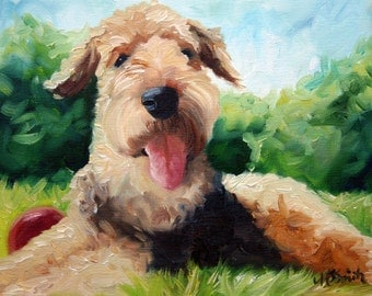 PRINT Airedale Terrier Dog Puppy Art Oil Painting Home Decor Gift / Mary Sparrow Smith