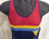 Totally Groovy 70s Color Block Mesh Tank Top in Blue