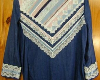 Denim Blazer Jacket Adorned w/Beads Stones Lace Designer MINT Applause III