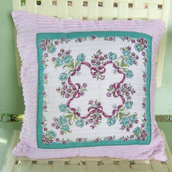 Decorative pillow vintage teal pink handkerchief on pink