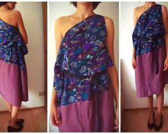 Upcycled violett silk dress, one size- fits many