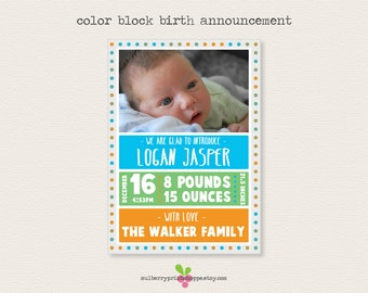 Color Block Birth Announcement