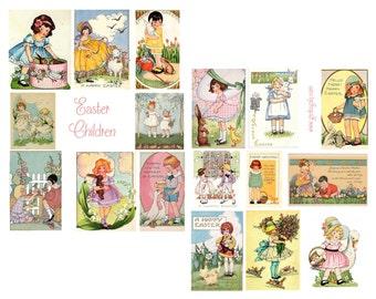 Easter Children Digital Collage Set