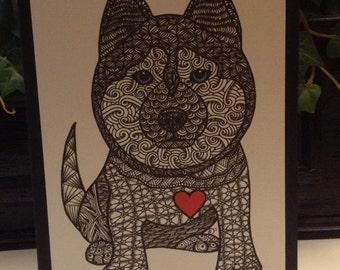 Zentangle Inspired Blue Eyed Siberian Husky Note Card, Blue Eyed Siberian Husky Print, Love Card