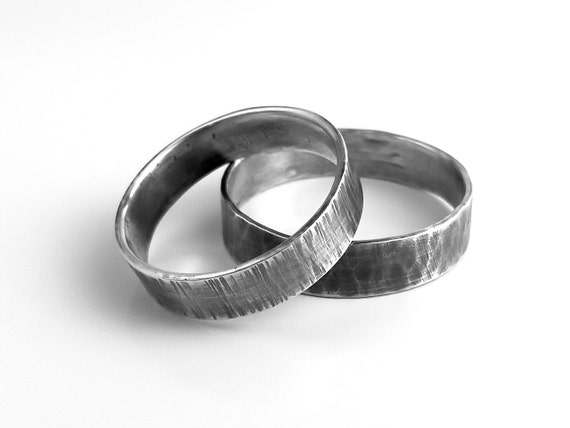 rustic sterling silver ring wedding band hammered
