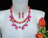 Shocking pink and flaming orange handcrafted clay necklace- matching earrings - pink and orange