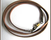 Brown Necklace Cord 30 or 31 Inch Antique Brass Lobster Clasp Custom Handmade