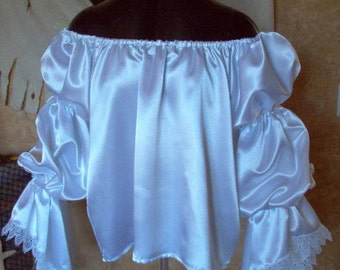 White Satin Pirate Renaisssance Chemise Shirt Other Colors Available