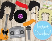 INSTANT DOWNLOAD - ROCKSTAR 80's Photo booth Props - Printable - Boombox, guitar, record
