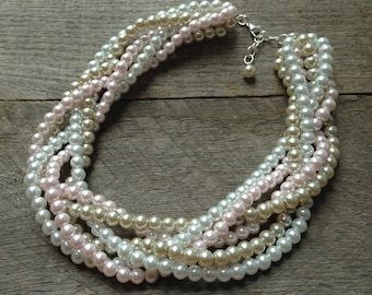 Pearl Necklace Pink White Champagne Statement Bridal Necklace Braided Cluster on Silver or Gold Chain