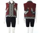 Vtg 90s Novelty Knit Chicken Rooster Cock Bird Print Geometric Aztec Vest Jacket S M L