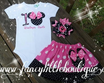 Minnie mouse outfit black and pink dots