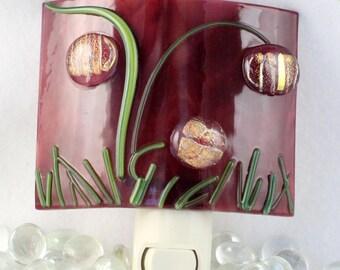 Fall Flowers Fused Glass Nightlight (NL_FallFlowers_001)