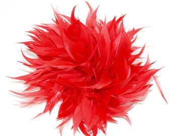 Red Fascinator feather brooch fascinator clip or pin