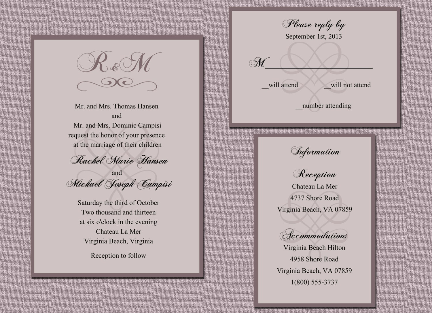 Printable Wedding Invitation Set / Digital by CheckaDesigns