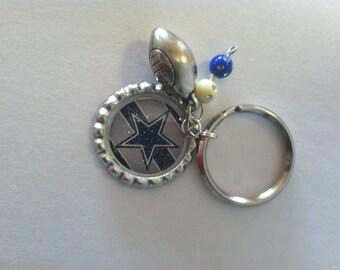 Cowboys Bottlecap Keychain  Dallas Keychain  Football