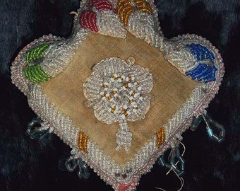 Antique Iroquois North East Coast Native American Beaded Pin Cushion Whimsey