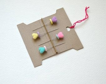 Clay Top Decorative Heart Stick Pin Set
