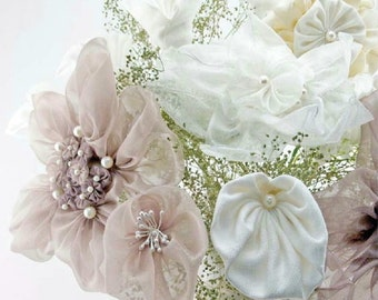 DIY Fabric Flower Wedding Bouquet, How to Make Bridal Bouquet, How to Fabric Flowers