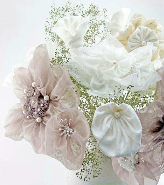 Items Similar To DIY Fabric Flower Wedding Bouquet How To Make Bridal Bouquet How To Fabric