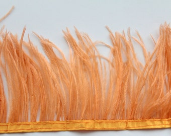 Apricot Ostrich Feather Fringe / 30cm for craft fascinator hairpiece hat
