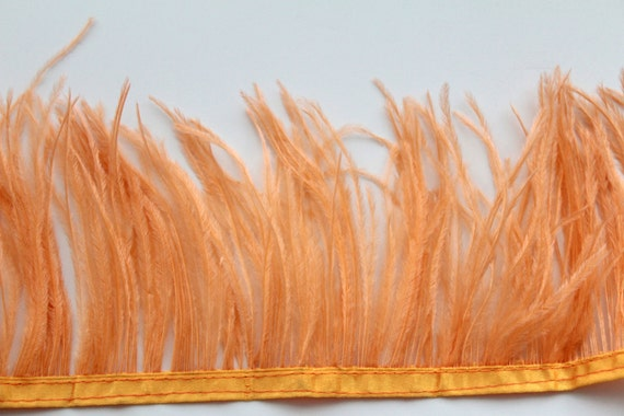 Basket Weaving Osi : Apricot ostrich feather fringe cm for craft fascinator
