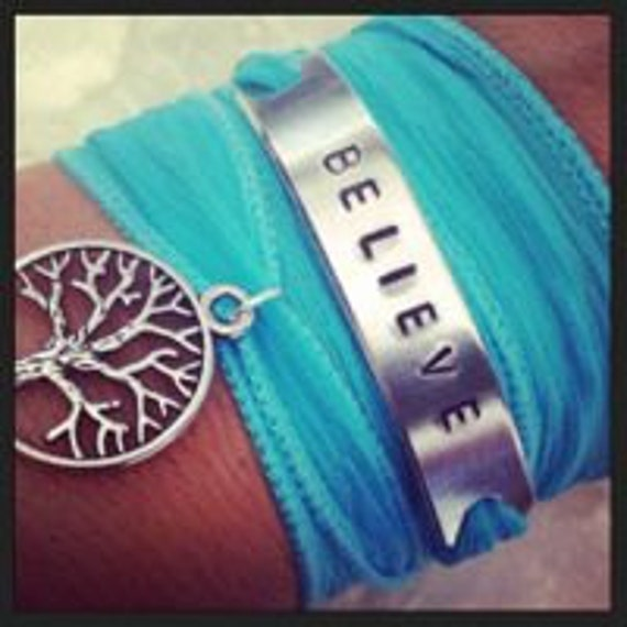Believe Tree of Life Inspirational Silk Wrap Bracelet - Yoga Jewelry - Inspirational armband