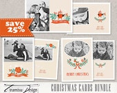 Christmas Card Template,5x7 and 7x5in Photoshop Template, BUNDLE, INSTANT DOWNLOAD, sku 10-34