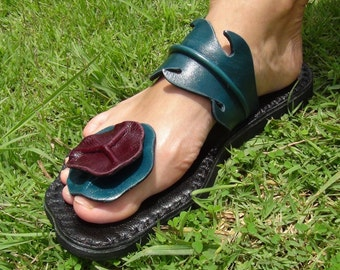 Handmade Leather Sandals Women and Men sandals leather craft   original design from nature ***Bilayer Lotus Leaves design***