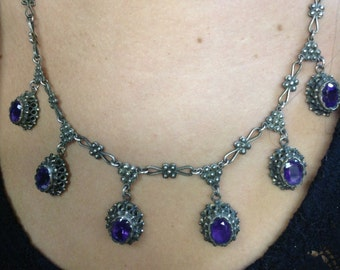 Russian turn of the century silver siberian amethyst bib necklace